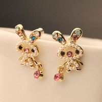 Naughty Bunny Pearl and Rhinestone Earrings | LilyFair Jewelry