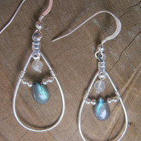 Labradorite and Moonstone Teardrop Earrings, Sterling Silver