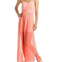 Open-Back Chiffon Maxi Dress: Charlotte Russe