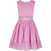 Girls lilac lace insert sun dress - dresses - girls