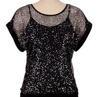 Button Back Sequin Top