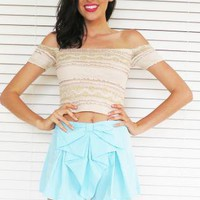 Shorts Bow High Waist Mint