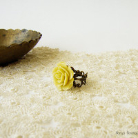 Mustard Rose Cabochon Ring - Antique Brass Filigree Adjustable Ring
