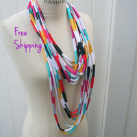 Infinity Scarf Necklace FREE SHIPPING Scarves Beach Jersey Scarf Necklace Scarf Fall Fashion Black Grey loop Scarf - By PIYOYO