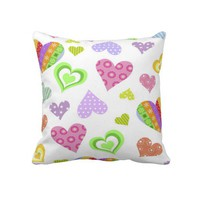 Colorful Hearts Decorative Throw Pillow 20&quot; x 20&quot; from Zazzle.com