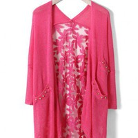 Daisy Floral Back Cardigan in Hot Pink