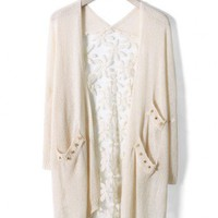 Daisy Floral Back Cardigan in Ivory