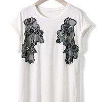Lace Decor T-shirt in White