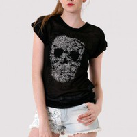 Skull Studs Burn-out T-shirt in Black