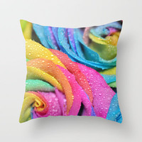 Rainbow Swirl Throw Pillow by Lisa Argyropoulos