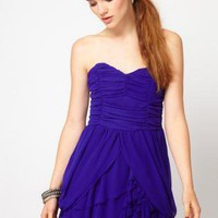 Strapless Dress with Sweetheart Neckline and Ruffles on Skir