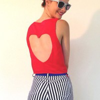 Top Cut Out Heart Sadie Red
