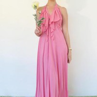 Dress Backless Halter Maxi Belle in Dusty Rose
