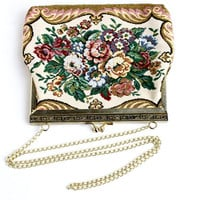 Vintage Tapestry Purse - 1960s Embroidered Flower Gold Tone Colorful Bag / Floral Summer