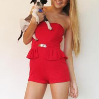 Romper Playsuit Peplum Strapless Little Red