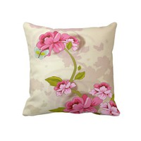 "Pink Roses Decorative Throw Pillow 20"" x 20"" from Zazzle.com"