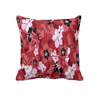 Red and Pink Flowers Decorative Throw Pillow from Zazzle.com