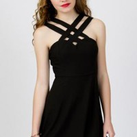 Double Strap Criss Cross Little Black Dress