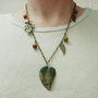 Green picasso jasper leaf necklace, brass jewelry, leaf jewelry
