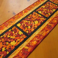 Handmade Table Runner Quilted Leaves Table Runner