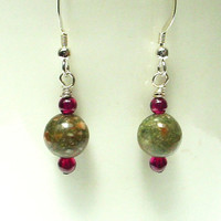 Green jasper earrings, garnet beads earrings, jasper jewelry