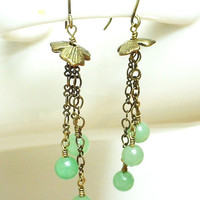 Brass tassel earrings, green aventurine earrings, green dangle earrings