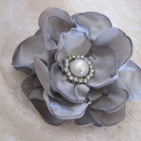 Grey  Satin  Bridal Wedding Flower Hair Clip Bride, Mother of the Bride, Bridesmaids Proms  with Pearl and Rhinestone Accent