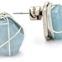 "Kenneth Cole New York ""Urban Wrap"" Semi-Precious Blue Quartz Wire Wrapped Stud Earrings"