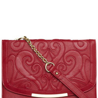 Red patterned shoulder bag