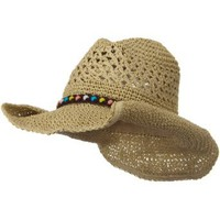 Amazon.com: Ladies Crochet Cowboy Hat - Khaki W37S13B: Clothing