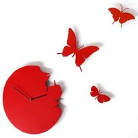 Butterfly Time Fly Wall Clock DIY Art Home Decor Red:Amazon:Home & Kitchen
