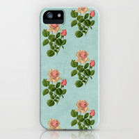 vintage rose - blue iPhone & iPod Case by her art