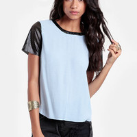 Heathers Faux Leather Accent Blouse - $32.00 : ThreadSence, Women's Indie & Bohemian Clothing, Dresses, & Accessories