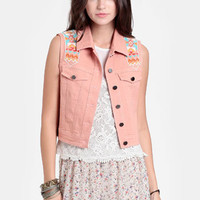 Callao Embroidered Denim Vest - $42.00 : ThreadSence, Women's Indie & Bohemian Clothing, Dresses, & Accessories