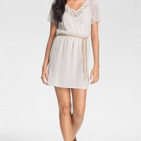 Sanctuary Braided Belt Lace Trim Dress | Nordstrom