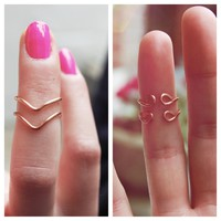 Rose Gold Set of Two Chevron Stackable Knuckle Rings