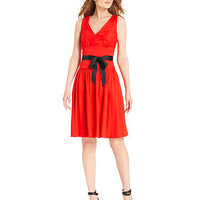 Calvin Klein Dress, Sleeveless Belted V-Neck - Dresses - Women - Macy's
