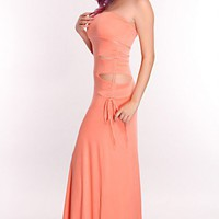 Coral Cutout Side Maxi Dress