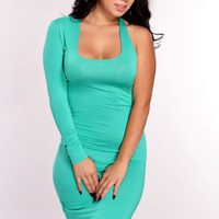 Green One Shoulder Long Sleeve Cutout Dress
