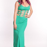 Green Caged Midsection Maxi Dress