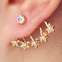 Cherry Blossom Diamond Single Ear Cuff (Gold) | LilyFair Jewelry