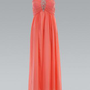 Coral Prom Dress with Jeweled Center Bust