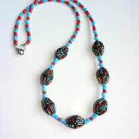 Coral and Turquoise Beaded Necklace