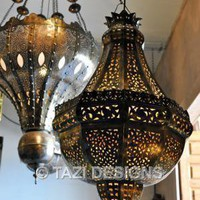 Moroccan Hanging Lamp - Pierced Brass Pendant 2  : Tazi Designs