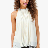 FRINGE MOCK NECK SLVLESS BLOUSE
