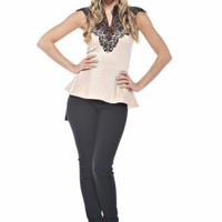 Cream Peplum Top with Black Crochet Victorian Neckline