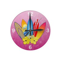 Surfboards And Hibiscus Clock from Zazzle.com