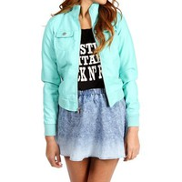 SALE-Mint Faux Leather Jacket