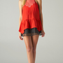 Red Satin Peplum Top