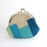 Frame Coin Purse- blue bars